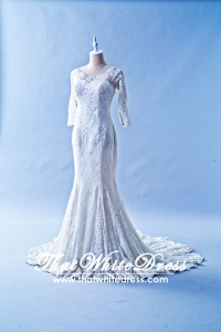 405WL03 Long Sleeves boat neck lace Plus Size Bride Malaysia