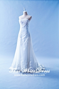 601W06 Strapless Straight Tube Lace Long Train Plus Size Bride